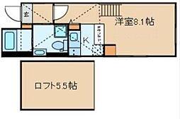 クラヴィール上野田原町 5階ワンルームの間取り