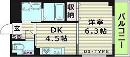 プリサレン 5階1DKの間取り