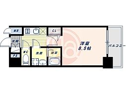 Osaka Metro谷町線 四天王寺前夕陽ヶ丘駅 徒歩7分の賃貸マンション 7階1Kの間取り