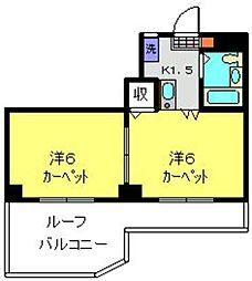 柳澤ハイツ 6階2Kの間取り