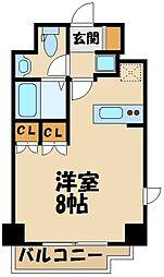 西武新宿線 田無駅 徒歩7分の賃貸マンション 8階1Kの間取り