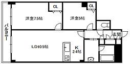 PRIME URBAN 札幌 RIVER FRONT[17階]の間取り