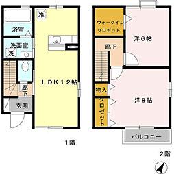 埼玉県八潮市大字鶴ケ曽根の賃貸アパートの間取り