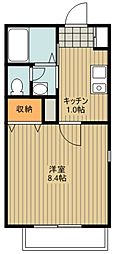 西武池袋線 清瀬駅 徒歩7分の賃貸アパート 1階1Kの間取り