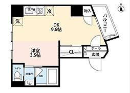 Bloom Residence 2階1DKの間取り