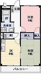 愛知県岩倉市神野町の賃貸アパートの間取り