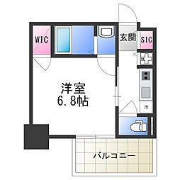 エスリード大阪上本町レジェーロ 4階1Kの間取り