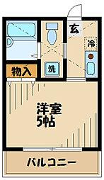 JR南武線 津田山駅 徒歩5分の賃貸アパート 1階1Kの間取り