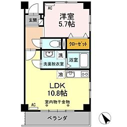 JR東海道本線 豊橋駅 バス18分 三菱レイヨン口下車 徒歩1分の賃貸マンション 3階1LDKの間取り