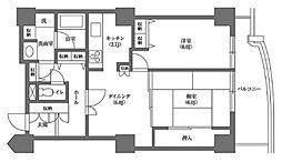 文京グリーンコートビュータワー本駒込 A棟 13階2DKの間取り
