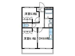 神奈川県厚木市関口の賃貸マンションの間取り