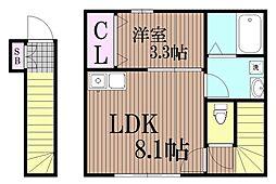 東京都大田区西六郷3丁目の賃貸アパートの間取り