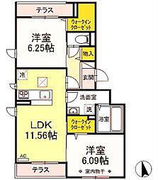 京王相模原線 若葉台駅 徒歩20分の賃貸アパート 1階2LDKの間取り