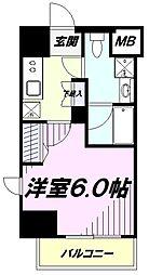 JR中央線 立川駅 徒歩10分の賃貸マンション 9階1Kの間取り