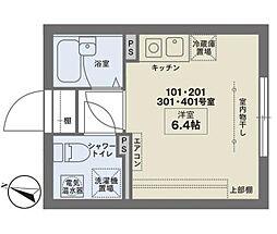ココフラット幡ヶ谷 1階ワンルームの間取り