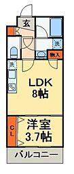 JR総武線 船橋駅 徒歩15分の賃貸マンション 4階1LDKの間取り