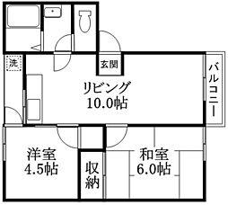 Bコーポハマダ[1階]の間取り