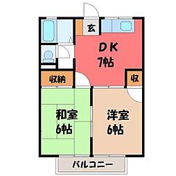 栃木県宇都宮市今宮2丁目の賃貸アパートの間取り