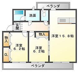 愛知県豊橋市牟呂大西町の賃貸マンションの間取り