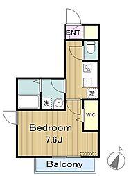 京王相模原線 京王多摩センター駅 徒歩7分の賃貸アパート 1階1Kの間取り