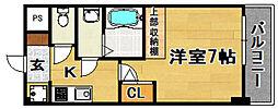 阪急京都本線 淡路駅 徒歩9分の賃貸マンション 4階1Kの間取り