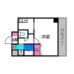 ラ・ヴィラ阿倍野 2階ワンルームの間取り