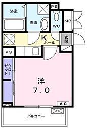 小田急小田原線 愛甲石田駅 バス21分 仲田下車 徒歩5分の賃貸アパート 3階1Kの間取り
