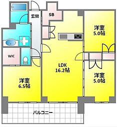 プラウドタワー武蔵小金井クロスEAST 21階3LDKの間取り