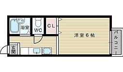 大阪府吹田市千里山東1の賃貸アパートの間取り