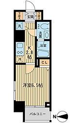 京王線 千歳烏山駅 徒歩3分の賃貸マンション 12階1Kの間取り
