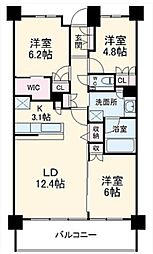 グランカーサ北浦和 地下6階3LDKの間取り