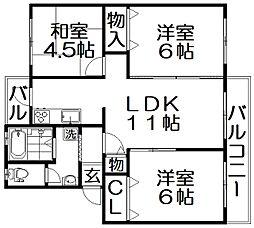 三井団地A11棟[3階]の間取り