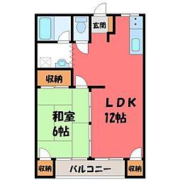栃木県宇都宮市清住3丁目の賃貸アパートの間取り