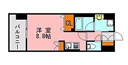 西鉄天神大牟田線 西鉄平尾駅 徒歩13分の賃貸マンション 5階ワンルームの間取り