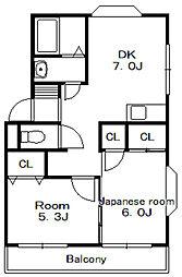 グリーンターフ須和田[3階]の間取り