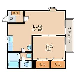 滋賀県野洲市栄の賃貸アパートの間取り