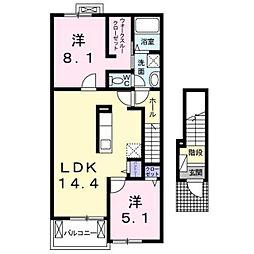 大阪府羽曳野市野の賃貸アパートの間取り