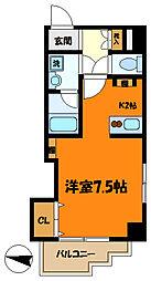 東急東横線 武蔵小杉駅 徒歩9分の賃貸マンション 2階1Kの間取り