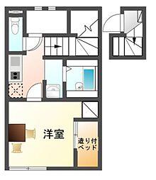 愛知県豊川市御油町万福寺の賃貸アパートの間取り
