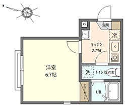 グランステージ川崎 1階1Kの間取り
