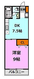 栃木県小山市城北5丁目の賃貸マンションの間取り