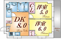 福田ハウス[2階]の間取り