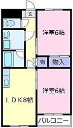 大阪府松原市三宅中5丁目の賃貸マンションの間取り