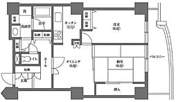 文京グリーンコートビュータワー本駒込 A棟 9階2DKの間取り