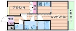 大阪府箕面市船場西1丁目の賃貸アパートの間取り