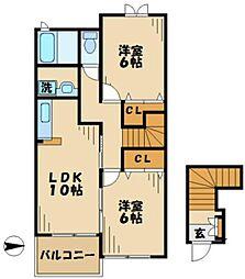 六軒ヒルズ[0201号室]の間取り