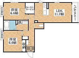 ブルーメ平野西[2階]の間取り