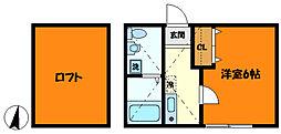 東急東横線 日吉駅 徒歩9分の賃貸アパート 2階1Kの間取り