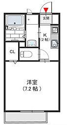 大阪府羽曳野市高鷲3の賃貸アパートの間取り