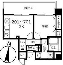 東京メトロ半蔵門線 錦糸町駅 徒歩9分の賃貸マンション 2階1DKの間取り